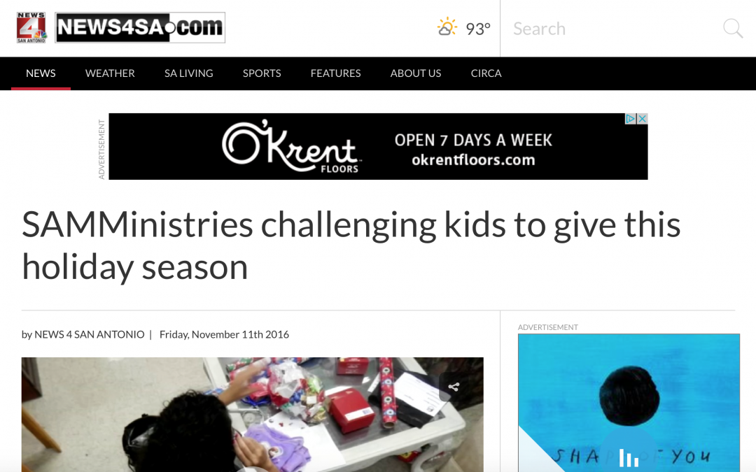 SAMMinistries challenging kids to give this holiday season