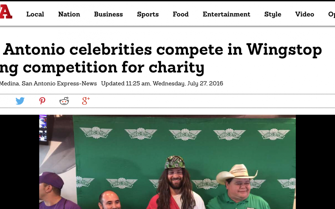 San Antonio celebrities complete in Wingstop eating competition for charity